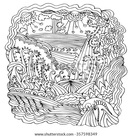 Hand Drawn Abstract Coloring Page Can Stock Vector 357598349 ...