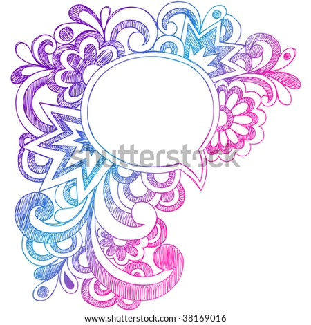 Hand-Drawn Abstract Comic Speech Bubble Sketchy Notebook Doodle Drawing Vector Illustration - stock vector