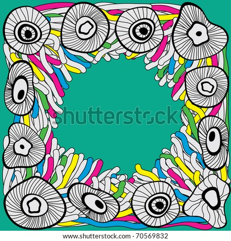 hand-drawn abstract doodle frame - stock vector