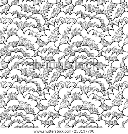 Hand-drawn abstract doodle seamless pattern - stock vector
