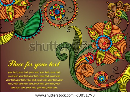 Hand-Drawn Abstract Flowers and Paisley background - stock vector