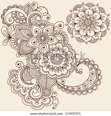 Hand-Drawn Abstract Henna Mehndi Abstract Flowers and Paisley Doodle Vector Illustration Design Elements - stock vector