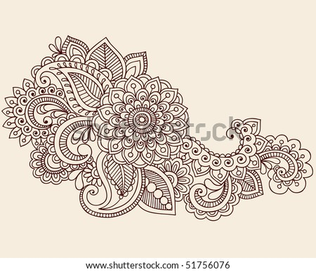 Hand-Drawn Abstract Henna Mehndi Flowers and Paisley Doodle Vector Illustration Design Element - stock vector