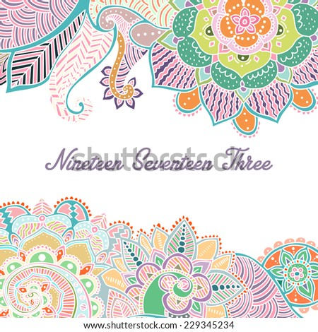 Hand-Drawn Abstract Henna Mehndi Flowers / Paisley Doodle Vector Illustration Design Elements with text field in the center - stock vector