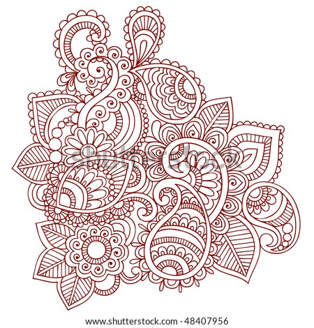 Hand-Drawn Abstract Henna (mehndi) Paisley Doodle Vector Illustration Design Element - stock vector