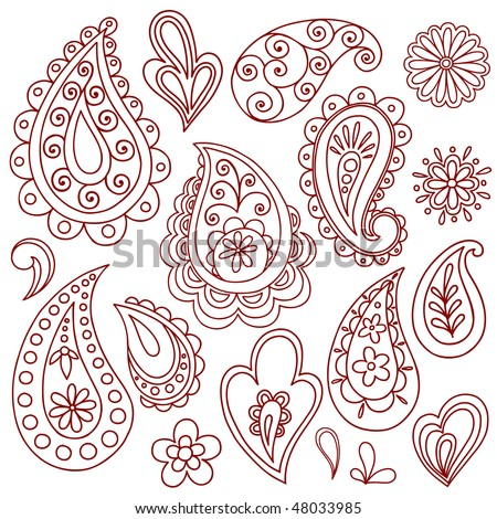 Hand-Drawn Abstract Henna (mehndi) Paisley Vector Illustration Doodle Design Elements - stock vector