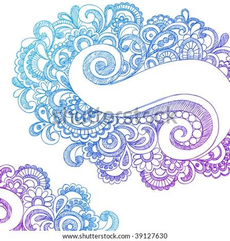 Hand-Drawn Abstract Paisley Sketchy Doodles Vector Illustration - stock vector