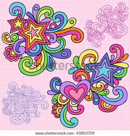 Hand-Drawn Abstract Psychedelic Notebook Doodles on Lined Paper Background- Vector Illustration - stock vector