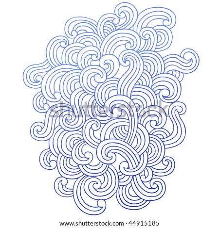 Hand-Drawn Abstract Psychedelic Waves Notebook Doodle Swirls Design Element- Vector Illustration - stock vector