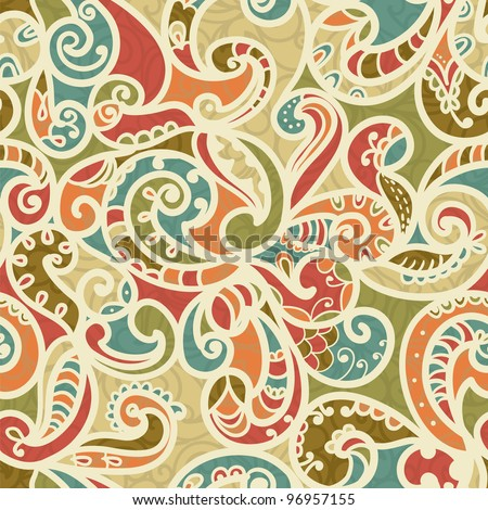 Hand-Drawn Abstract Seamless Pattern With Vintage-Colored Curves - stock vector