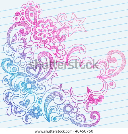 Hand-Drawn Abstract Sketchy Doodles on Lined Notebook Paper Vector Illustration - stock vector