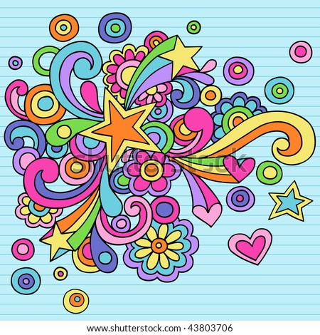 Hand-Drawn Abstract Star Psychedelic Notebook Doodles on Lined Paper Background- Vector Illustration - stock vector
