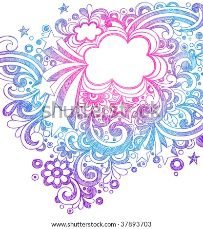 Hand-Drawn Abstract Stars and Doodles Sketchy Notebook Drawing Vector Illustration - stock vector
