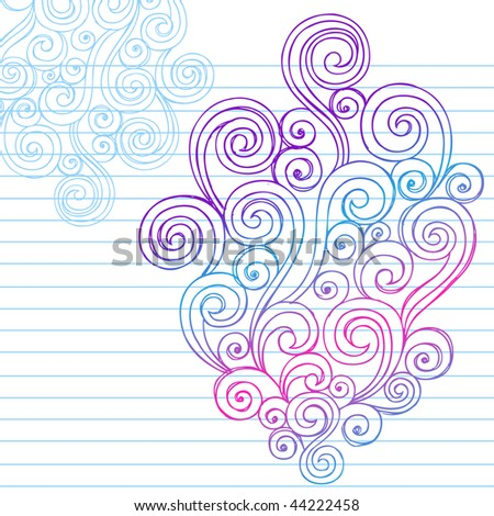 Hand-Drawn Abstract Swirls Sketchy Doodles on Lined Notebook Paper Vector Illustration - stock vector