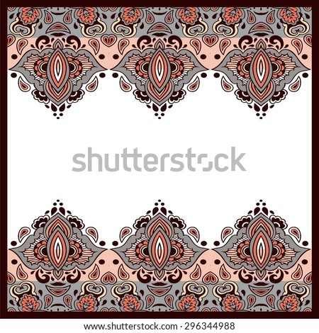 Hand-drawn abstract tribal vintage ethnic paisley ornament. Seamless retro pattern can be used for wallpaper, pattern fills, web page background,surface textures - stock vector. - stock vector