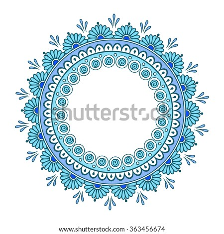 Hand drawn abstract turquoise blue colorful  design. Decorative Indian round lace ornate mandala. Frame or plate design - stock vector