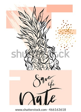 Hand drawn abstract unusual elegant template card in pastel and gold colors with pineapple for Save the Day.Design for Wedding,marriage,baby shower,bridal,party,birthday,Valentine's day.