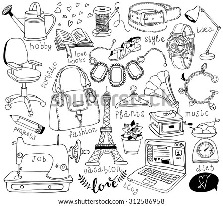 hand-drawn accessories doodles - stock vector