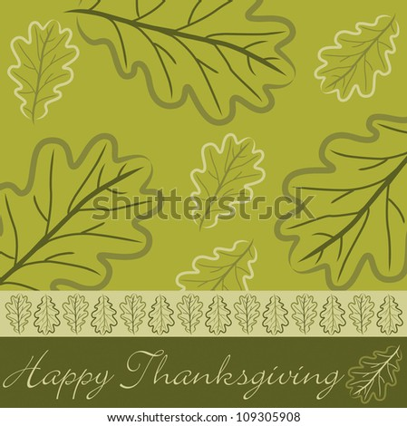 Hand drawn acorn leaf Thanksgiving card in vector format. - stock vector