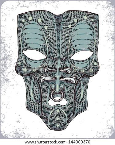 Hand-drawn african zulu masks. - stock vector
