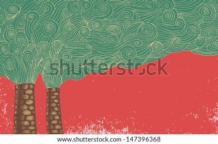 Hand-Drawn air pollution. - stock vector