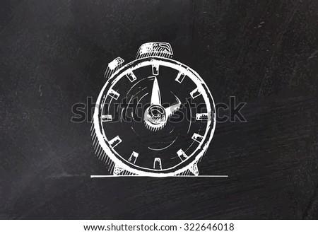 Hand drawn alarm clock on blackboard. Vector illustration. - stock vector
