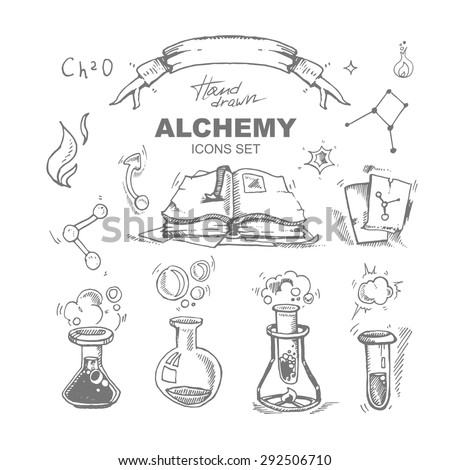 hand drawn alchemy icons set with test tube. Vector picture isolate on white background - stock vector