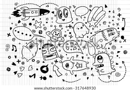 Hand drawn Aliens and Monsters cartoon doodle,drawing style Pen on Paper Notebook,suitable for Halloween. Vector illustration.