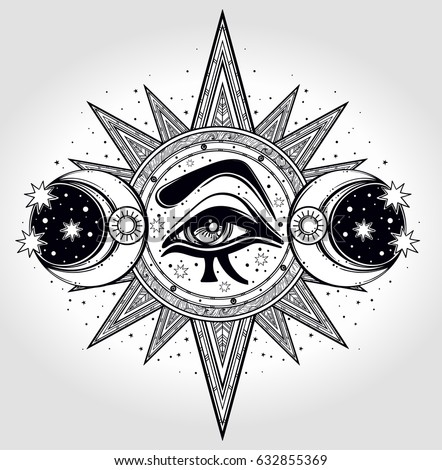 Hand drawn all seeing eye is on the circle with two moons and a
