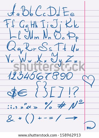 Hand drawn alphabet and numbers