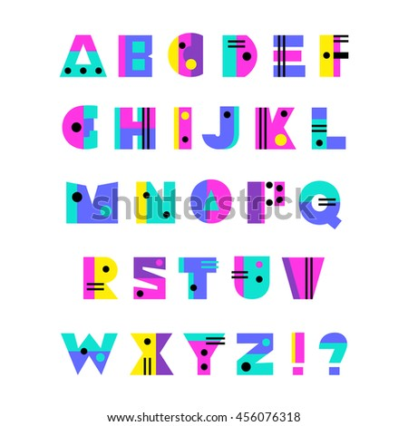 Hand drawn alphabet, bright colorful creative font in retro geometric 90s style, modern art