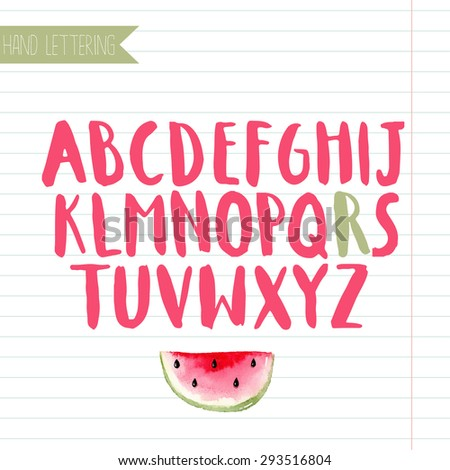 Hand drawn alphabet. Decorative letters set with watercolor watermelon slice - stock vector