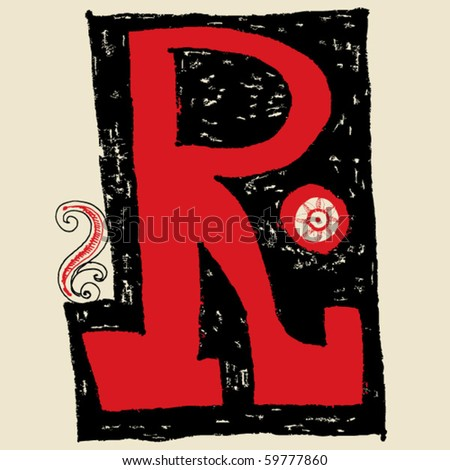 hand drawn alphabet, doodle R - stock vector