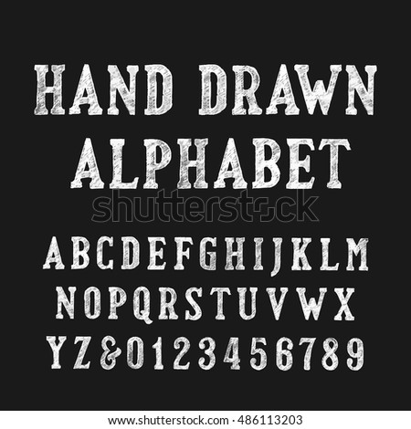 Hand drawn alphabet font. Distressed vintage letters and numbers on a dark background. Retro vector typeface for your design.