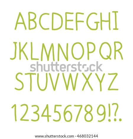 Hand drawn alphabet for your design. ABC creative green letters. Vector illustration.