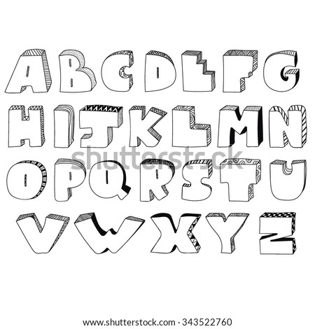 Hand Drawn Alphabet From A To Z In Caps Graffiti Style Three Dimensional Letters