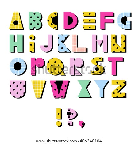 Hand drawn alphabet. Geometric funny checkered font with dots. Colorful vector letters. retro 80s - 90s style