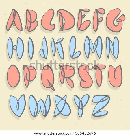 Hand Drawn Alphabet Brushed Unforced Bubble ABC Written
