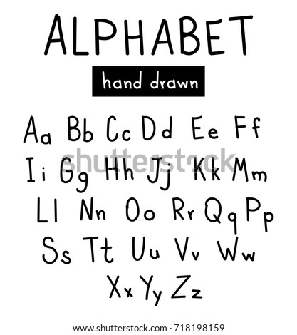 Hand Drawn Alphabet Handwritten Font Brush Style Modern Calligraphy Printed Lettering Vector