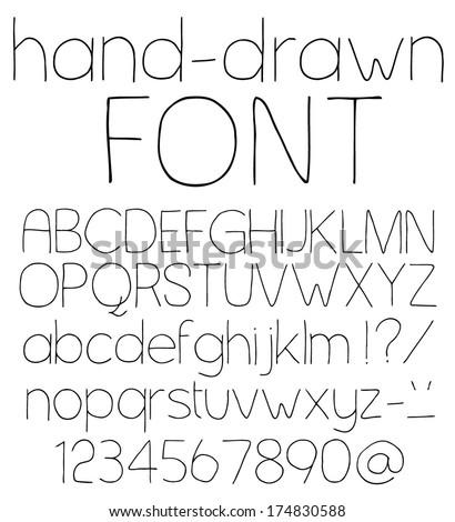 Hand drawn alphabet. Handwritten font. Vector illustration. - stock vector
