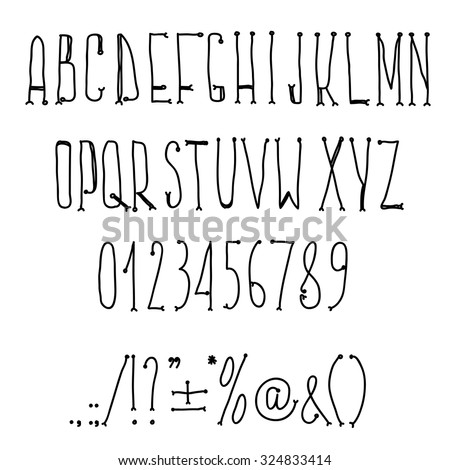 Hand drawn alphabet handwritting abc vector font. Type letters, numbers and punctuation marks. - stock vector