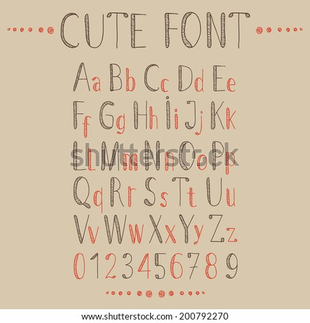 Hand drawn alphabet in retro style. ABC for your design.  Easy to use and edit letters. - stock vector