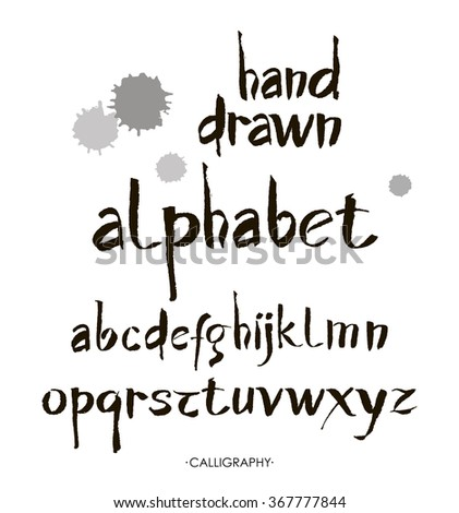Hand drawn alphabet in retro style. ABC for your design. Letters of the alphabet written with a brush. Easy to use and edit letters. Calligraphy. - stock vector