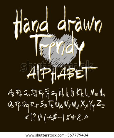 Hand drawn alphabet in retro style. ABC for your design. Letters of the alphabet written with a brush. Easy to use and edit letters. Black background. - stock vector