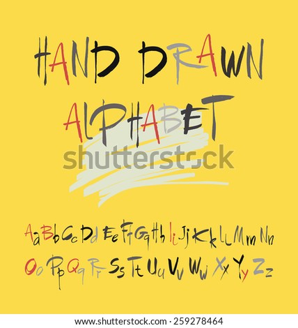 Hand drawn alphabet in retro style on a yellow background. ABC for your design. Letters of the alphabet written with a brush. Easy to use and edit letters. - stock vector