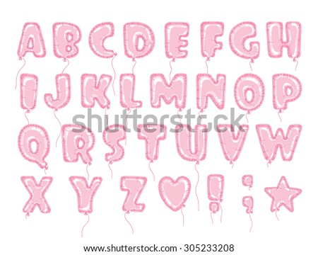 Hand drawn alphabet in the form of balloons. Easy editable vector file. Perfect letters design for festive posters and postcards or nterior decoration baby room.