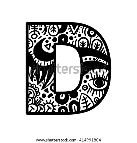 Hand drawn alphabet letter d vector stock vector 414991804 hand drawn alphabet letter d vector isolated on white background for shirt design tattoo altavistaventures