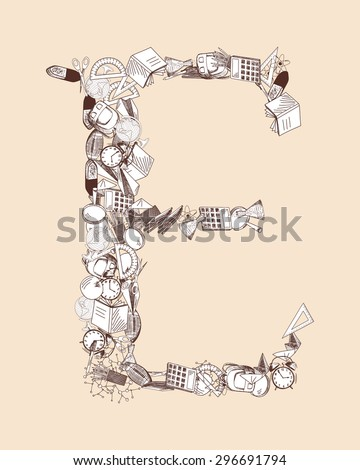 Hand drawn alphabet letter with education theme. EPS 10 vector illustration.