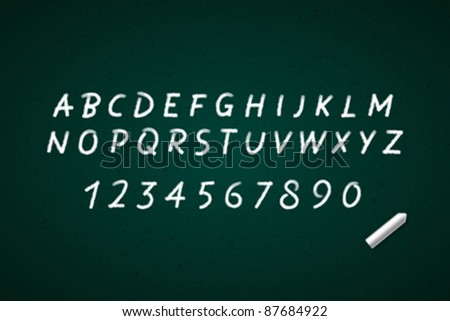 Hand drawn alphabet letters on blackboard. Vector background eps 10. - stock vector