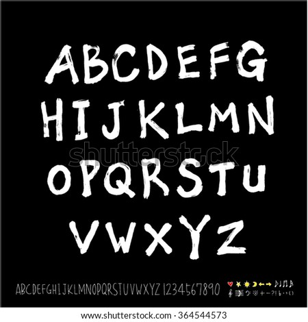 Hand drawn alphabet & number - vector